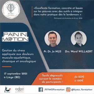 Pain In Motion gestion du stress douleur oncologique musculo squelettique chroniqueJo Nijs Wart willaert KYMO Formation Liège Belgique